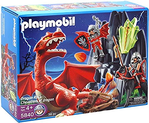 Playmobil 5840 - Drachenh e mit Rotem Drachen ( ca. 28cm hoch ) Catapult & 2 Ritter mit Pferd & mehr