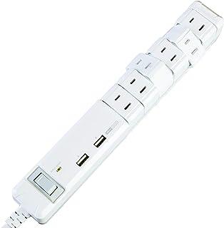 ファーゴ New 3.4A 2ポートUSB給電機能付 回転式6個口OAタップ ホワイト PT601WH  USB充電ポート付き ACタップ 延長コード Fargo ROTARY USB TAP
