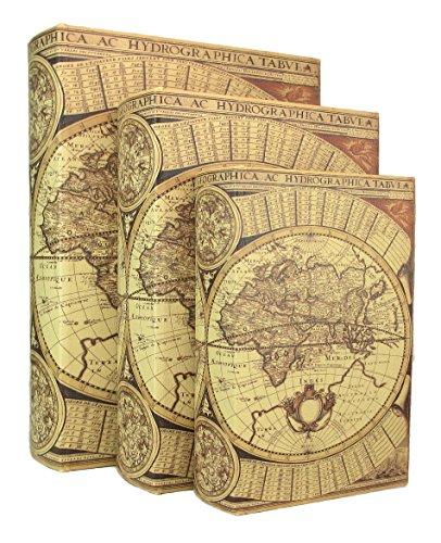 MagJo Home Beautifully Designed Wood Antique Book Box, Set of 3 (Magellan)
