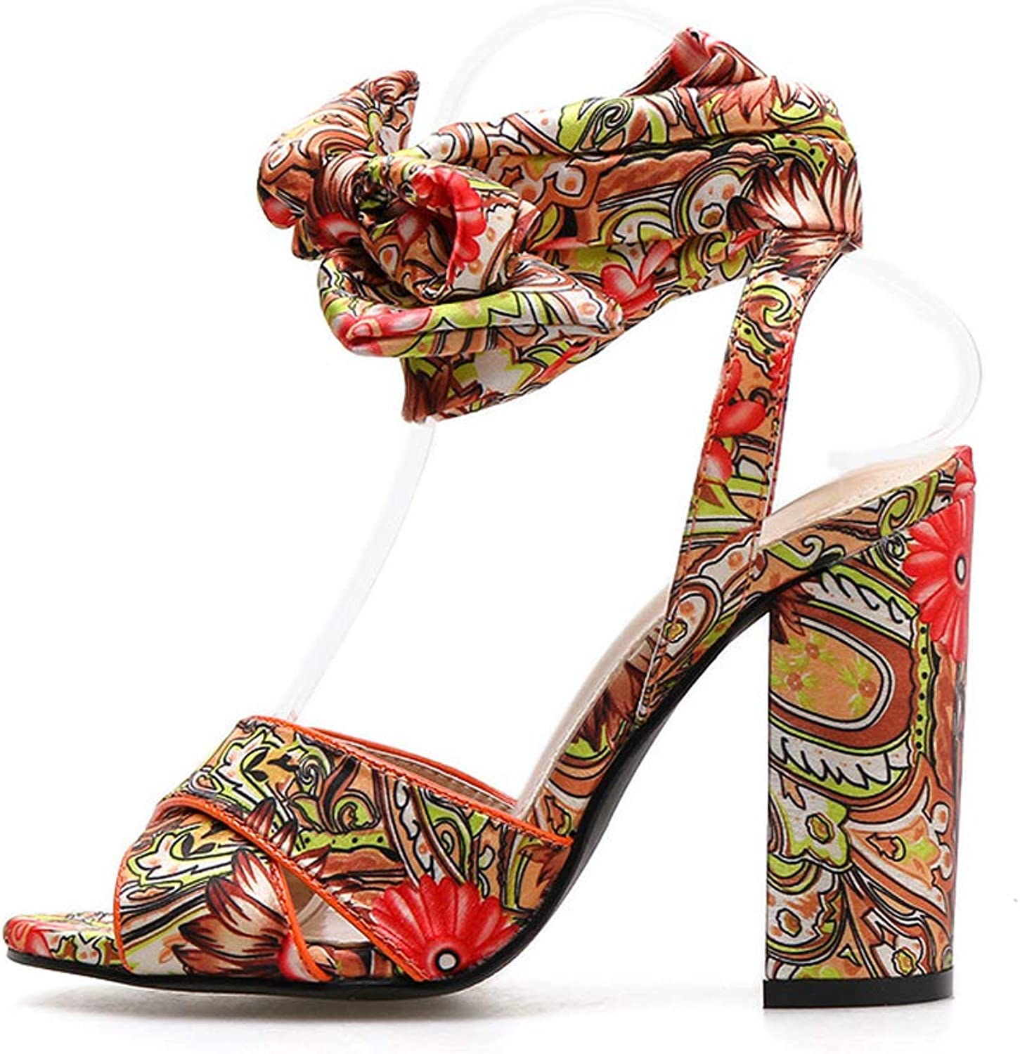 Summer High Heel Bohemian Pattern Thick with Sandals Women's shoes
