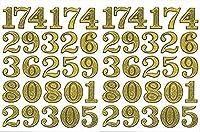 (シャシャン)XIAXIN 防水 ラメ PVC製 数字 ナンバー ステッカー セット 耐候 耐水 ローマ字 キャラクター 表札 スーツケース ネームプレート ロッカー 屋内外 兼用 TSS-607 (ゴールド, 2)