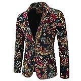 Hombres Casual Blazer Traje Chaquetas Slim Fit Floral Print Elegante Blazer Abrigos Chic Chaquetas Un solo Botonadura Boda Esmoquin Chic Abrigos Uso diario, Multicolor, M