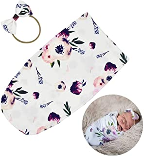 Newborn Swaddle Sack with Matching Headband Sleeping Sack Soft Stretchy Cotton Newborn Photography Prop Baby Shower Gift for 0-3 Months Baby Boys Girls by TIANNUOFA (Purple Flower)