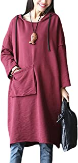 Mordenmiss Women's T Shirt Dresses Casual Sweatshirt Cotton Hoodie with Pocket