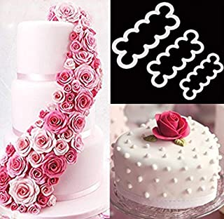 3pcs Cake Decoration Mold, DIY One-Piece Molded Fondant Roses Printing Mould Tool Set, Food Grade Cutter Modeling Tools fo...