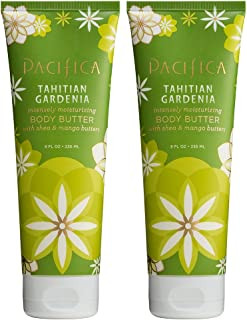 Pacifica Tahitian Gardenia Body Butter (Pack of 2) with Shea Butter, Jojoba Seed Oil, Cocoa Butter, Flax Seed Oil, Kukui Nut Oil and Vitamin E, 100% Vegan and Cruelty-Free, 8 oz