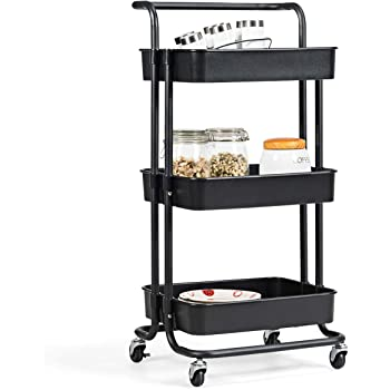 XGao 3 Tier Rolling Storage Cart with Wheels Plastic Organizer Shelf Rack Storage Tower Utility Carts with Large Baskets for Kitchen Laundry Room Bathroom Office /& Dresser for Fruits