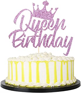 palasasa Queen Birthday Cake Topper for Girl Women Party Decorations Supplies (Purple)