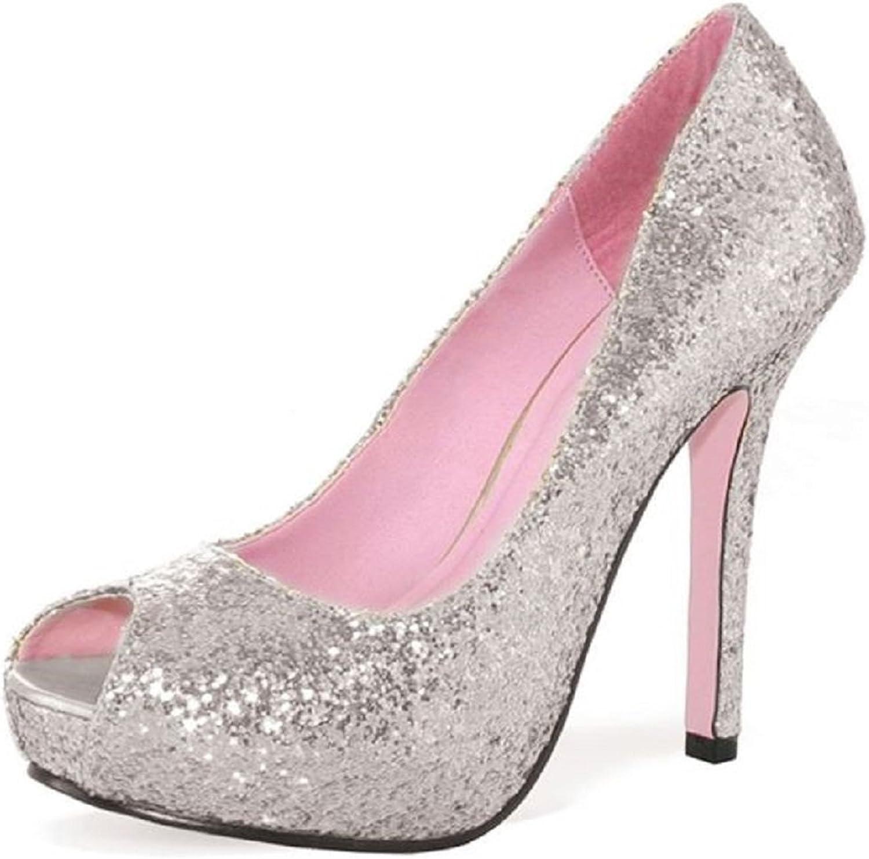 Leg Avenue Women's Ella Open Toe Glitter Pump with 1  Covered Platform Heel