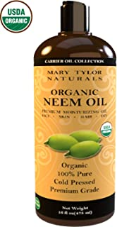 Neem Oil (16 oz), Certified Organic, Cold Pressed, Unrefined, Premium Quality, 100% Pure Great for Skincare and Hair Care by Mary Tylor Naturals