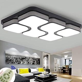 78W Led Luminaria de Techo Regulable Ultradelgada Cuadrada Dormitorio Creativo Lámpara de Sala de Estar Estudio Moderno Sencillo Estudio Iluminación Romántica (Negro 3000-6500K)