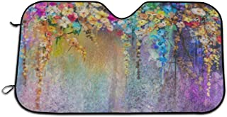 TianHeYue Watercolor Painting Abstract Floral Car Windshield Sun Shade Universal Fit Car Sunshade-Keep Your Vehicle Cool UV Sun and Heat Reflector 130x70cm