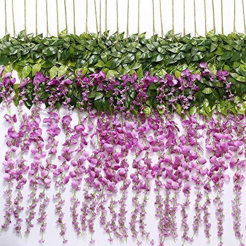 TRvancat - Guirnalda de Flores Artificiales para decoración de Bodas, Arcos, Fiestas, decoración de jardín, 12 Unidades