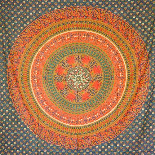 MOMOMUS Tapiz Mandala Étnico - 100% Algodón, Grande, Multiuso - Pareo/Toalla de Playa Gigante - Cubre Sofá/Cama - Telas para Decoración de Pared - 210x230 cm, Verde ✅