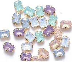 10x14mm Rechthoek Opaal Kristal Groen Hars Naai Op Strass Steentjes met Gouden Klauw naaien op Stenen voor Kleding Accesso...