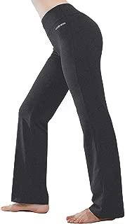 Inner Pocket Yoga Pants 4 Way Stretch Tummy Control Workout Running Pants, Long Bootleg Flare Pants