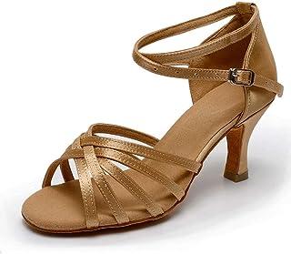 144a6770 VASHCAME-Zapatos de Baile Latino de Tacón Alto/Medio para Mujer