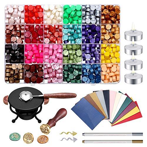 Dichtungs-Wachs-Set, 742 Stück Mischfarbe Sealing Wachsperlen Sticks mit Kerzen und Wachsschmelz Löffel für Wax Stamp Umschlag Geschenkverpackung Sealing für Briefschreiben Hochzeit