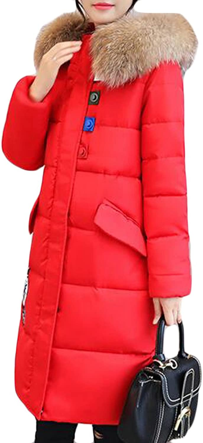 Papijam Womens Warm Faux Fur Hoodie Quilted Thicken Down Parkas Coat