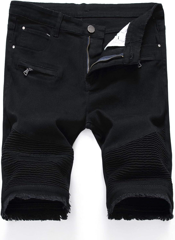 Men's Straight-Leg Denim Shorts Cotton Breathable Stylish Ribbed Slim-fit