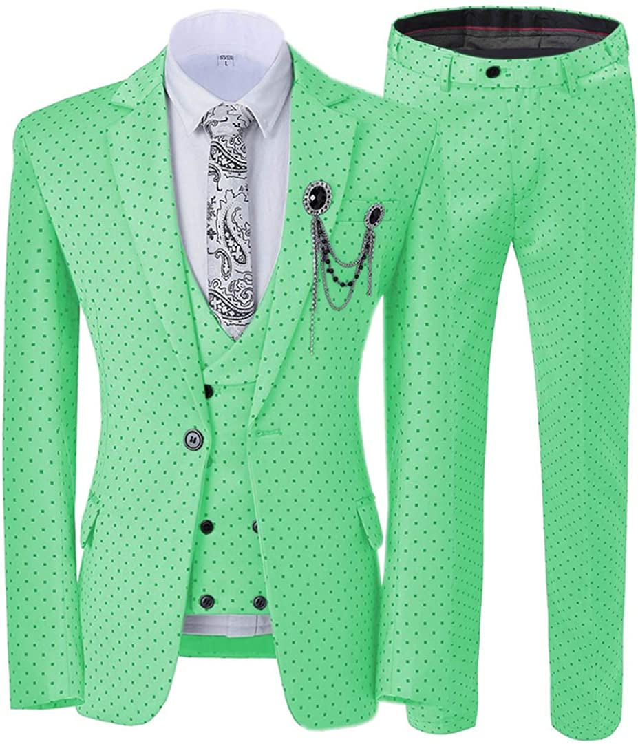 ToonySume Casual Men's Suits Slim Fit 3 Piece Prom Tuxedos Square Pattern Business Suit Wedding Grooms(Custom,Mint Green)