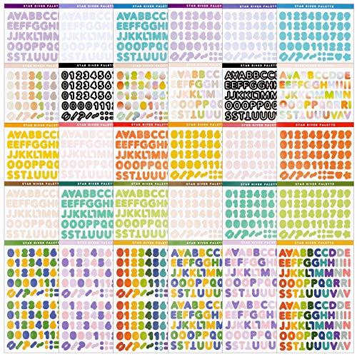 30 hojas Pegatinas Letras Números Colores Pegtinas Alfabeto Autoadhesivo para Scrapbooking Manualidades Decoración Álbumes de Recortes Tarjetas de Felicitación DIY