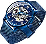 Men's Skeleton Watch Classic Roman Numeral Steampunk Mechanical Watch Hand-Wind Mens Watches (Blue)