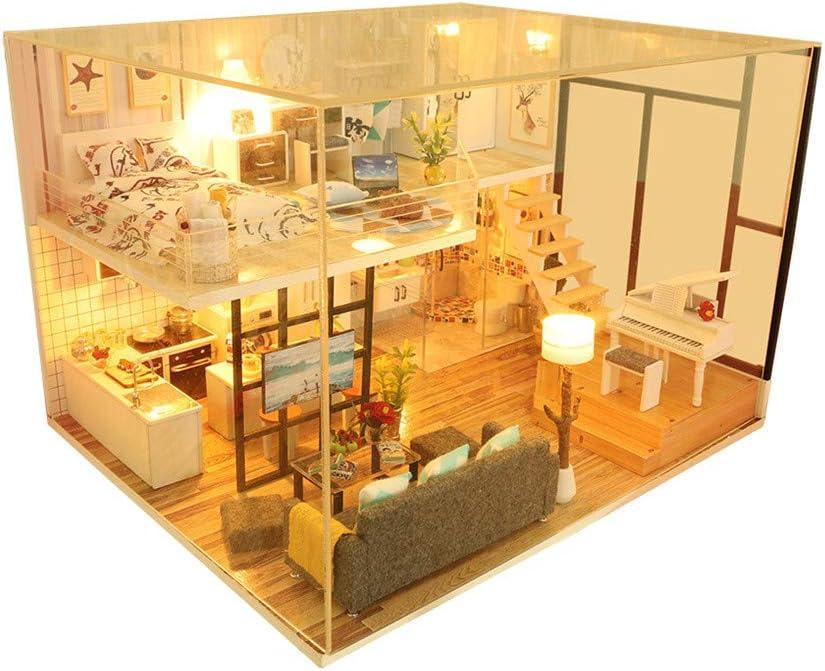 NROCF Popular overseas LED Light Doll House Furniture Regular dealer Min 3D Wooden Miniature DIY