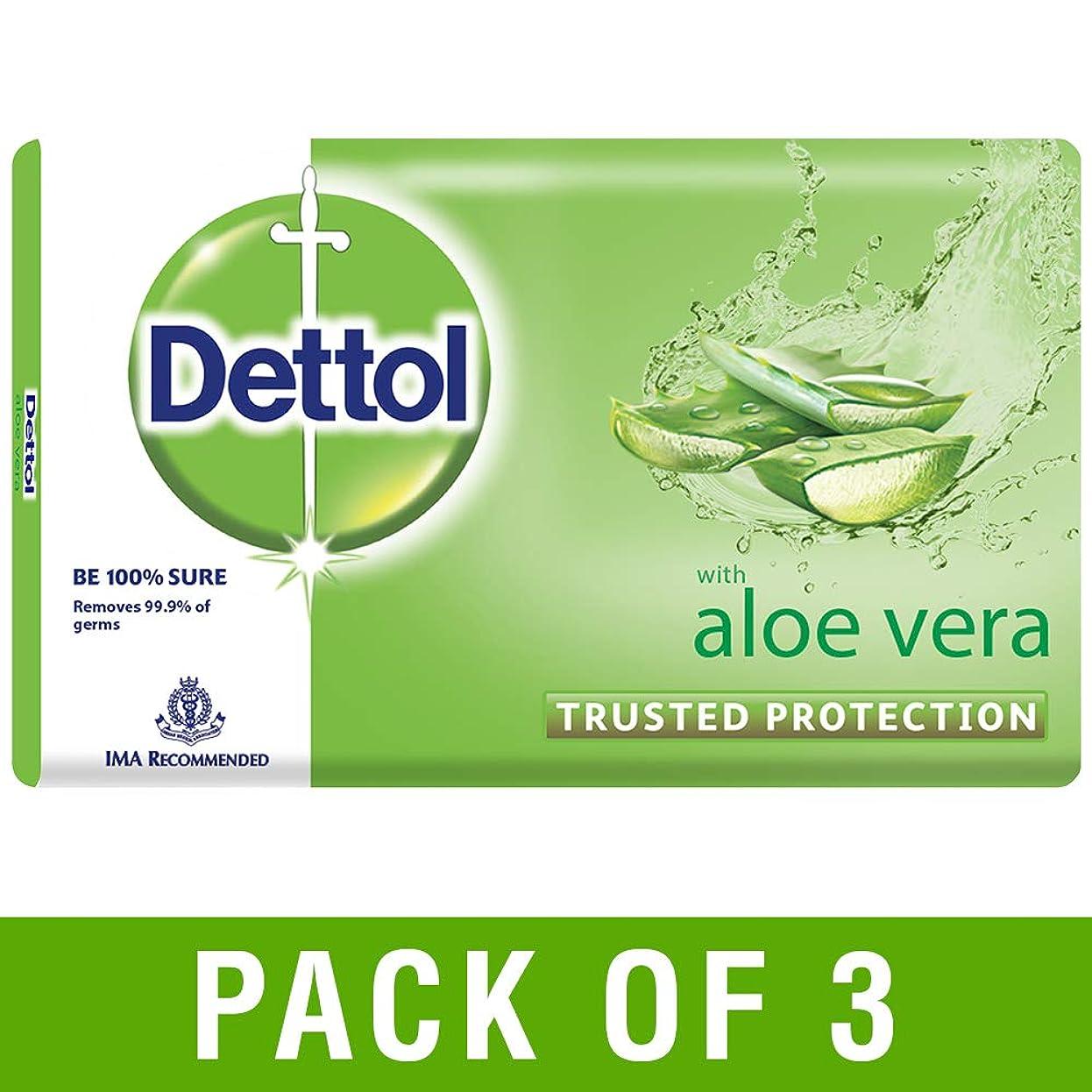 のホスト狂信者王女Dettol Aloe Bathing Bar Soap - 100 g (Pack of 3)