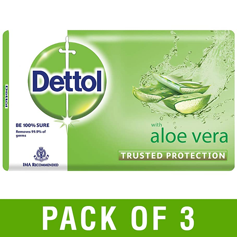 シャーロックホームズ原理おとなしいDettol Aloe Bathing Bar Soap - 100 g (Pack of 3)