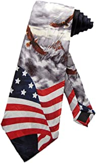Steven Harris Men's American Bald Eagles USA Flag Necktie - Grey - One Size Neck Tie