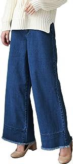 (EC33160914) デニム レディース ワイド ワイドパンツ ガウチョ ジーンズ ハイウエスト フリンジ 切りっぱなし ハイウエストフリンジデニムワイドパン