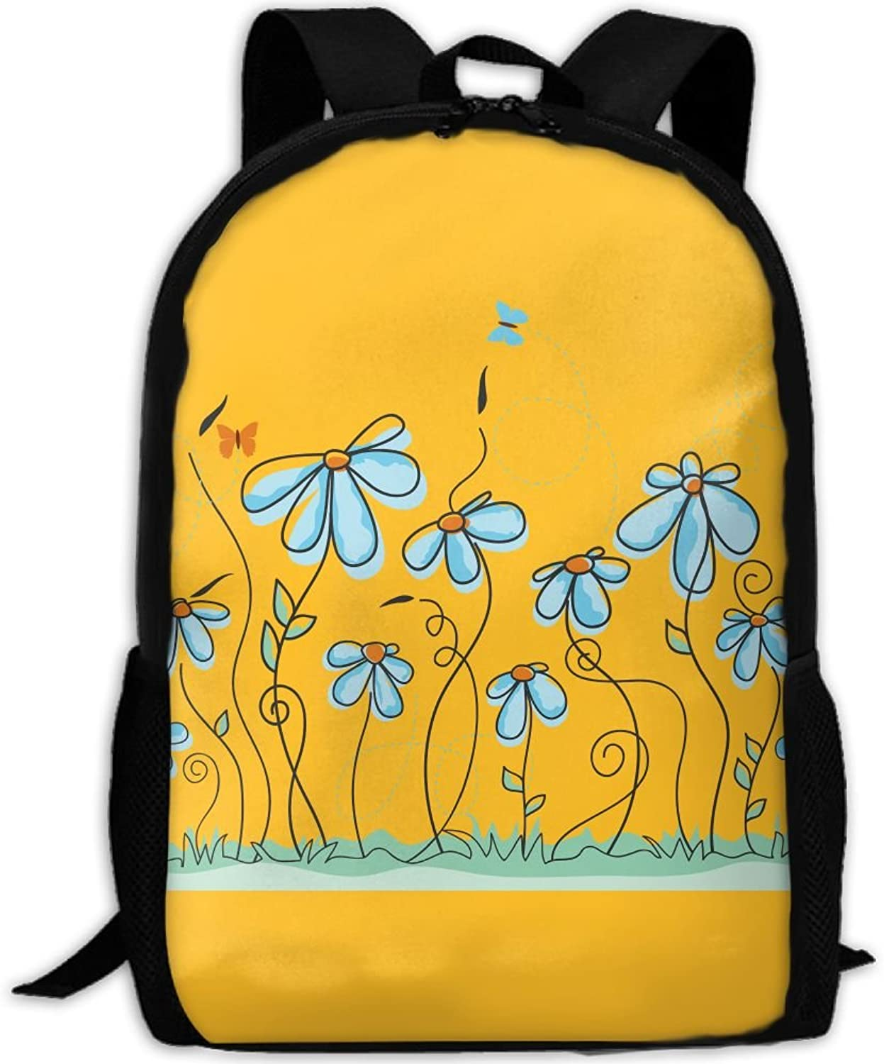 ed41f1d399a2e Backpack Laptop Hiking School Bags bluee Flowers Butterfly Shoulder ...
