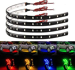 EverBright 4-Pack Green 30CM 5050 12-SMD DC 12V Flexible LED Strip Light Waterproof Car Motorcycles Decoration Light Interior Exterior Bulbs Vehicle DRL Day Running with built-in 3M Tape