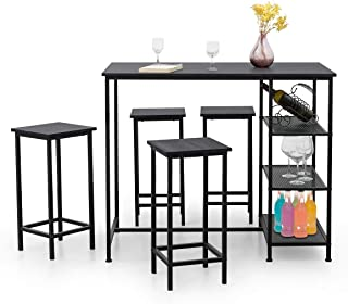 COSTWAY 5-Piece Counter Height Dining Set, Modern Compact 4 Backless Stools and Bar Table with 3 Open Storage Shelves, Perfect for Bar, Bistro, Dining Room, Kitchen, Black