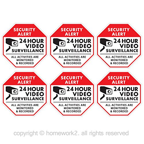 CCTV Video Surveillance Security Stickers, Red and White Octagon-Shaped, 3.3 X 3.3 Inch, Vinyl Decals - Indoor & Outdoor Use, UV Protected & Waterproof - 6 Labels