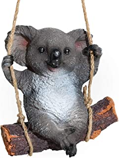 WALTSOM Animal Garden Statues, 9 Inch Koala Bear Swing Garden Figurine Resin Sculptures for Patio Yard Lawn Garden Porch Decor Ornament