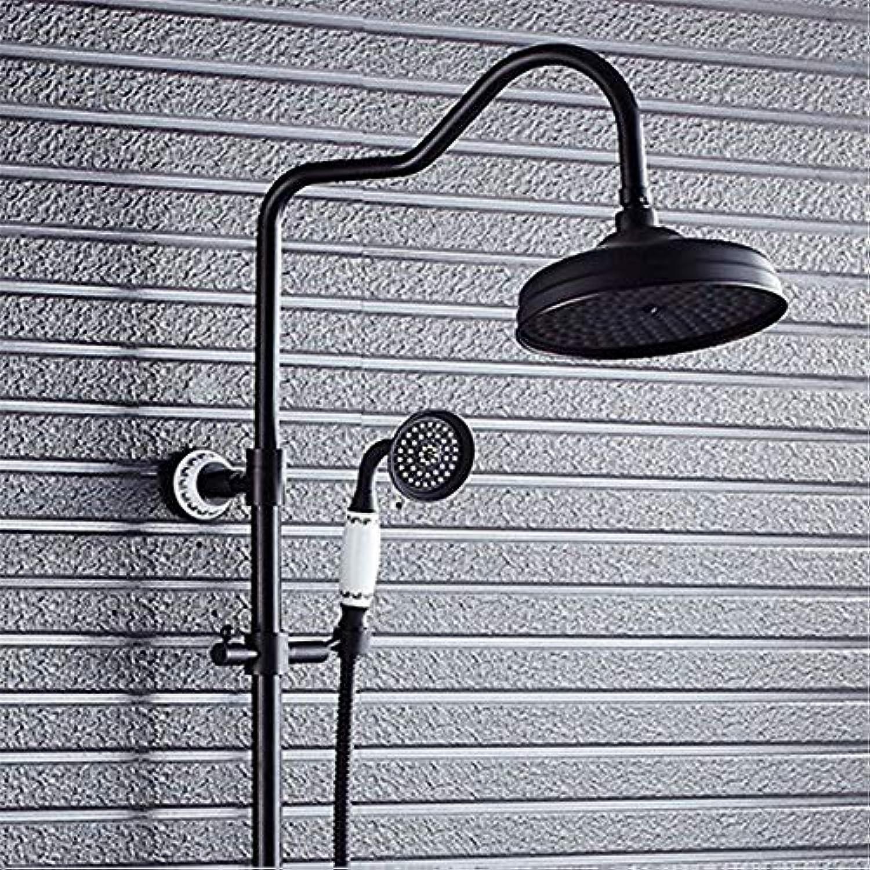 HUAIX Home Waschbecken-Mischbatterie Badezimmer-Küchen-Becken-Hahn auslaufsicher Speichern Sie Wasser-antike Goldüberzogene volle kupferne Dusche-Wand-Duschkopf-Handbrause