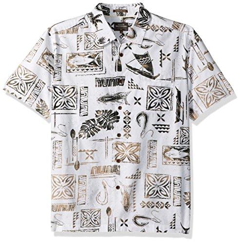Quiksilver Waterman Men's Button Down Shirt, White UBERDEEN, S