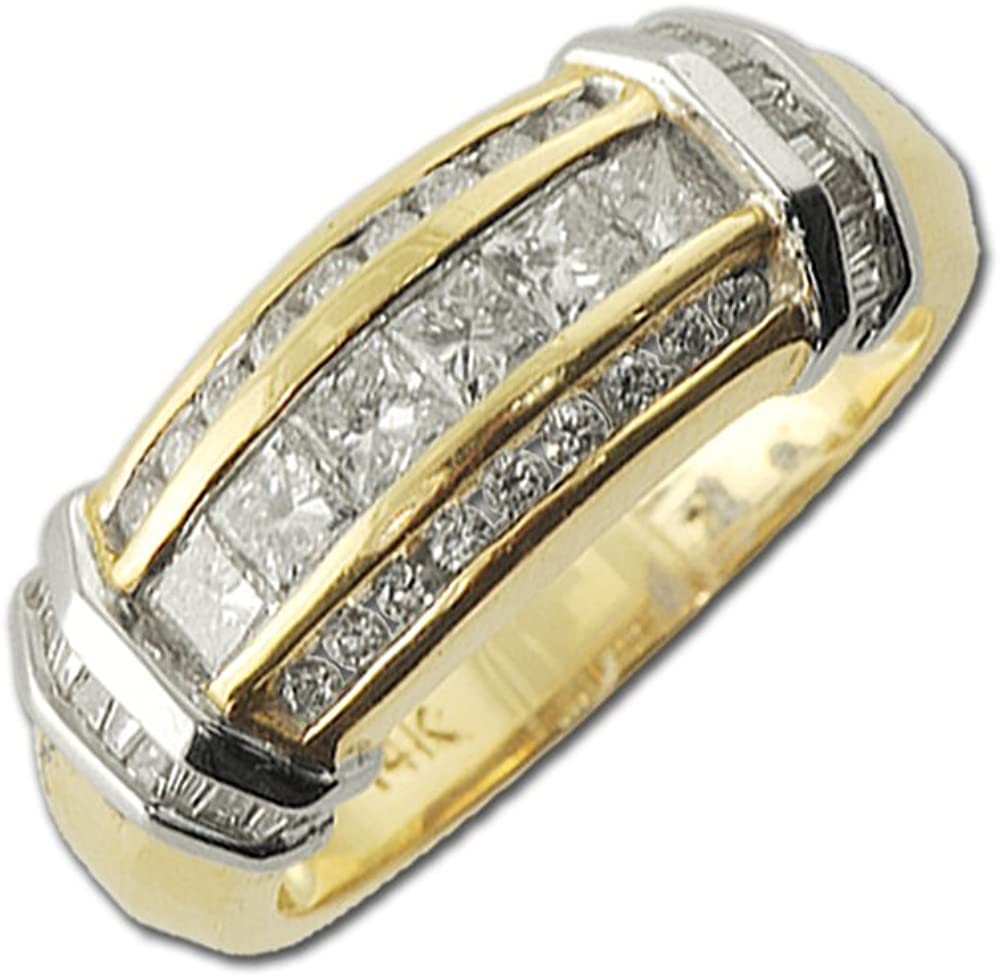 TriJewels Diamond Princess Cut, Round & Baguette Shape Anniversary Ring 1.00 ct tw in 14K Yellow Gold