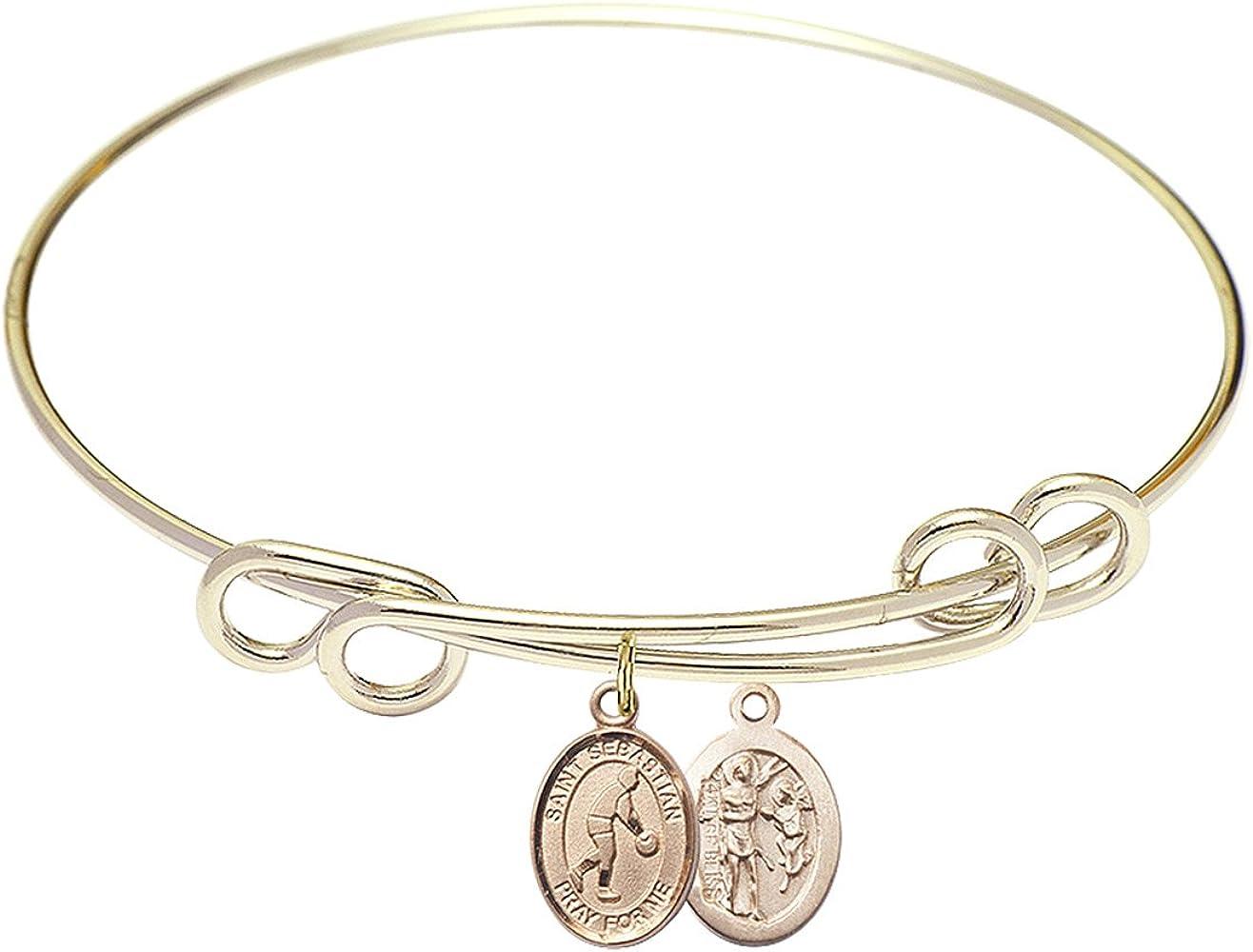 DiamondJewelryNY Double Loop Bangle Bracelet with a St. Sebastian/Basketball Charm.