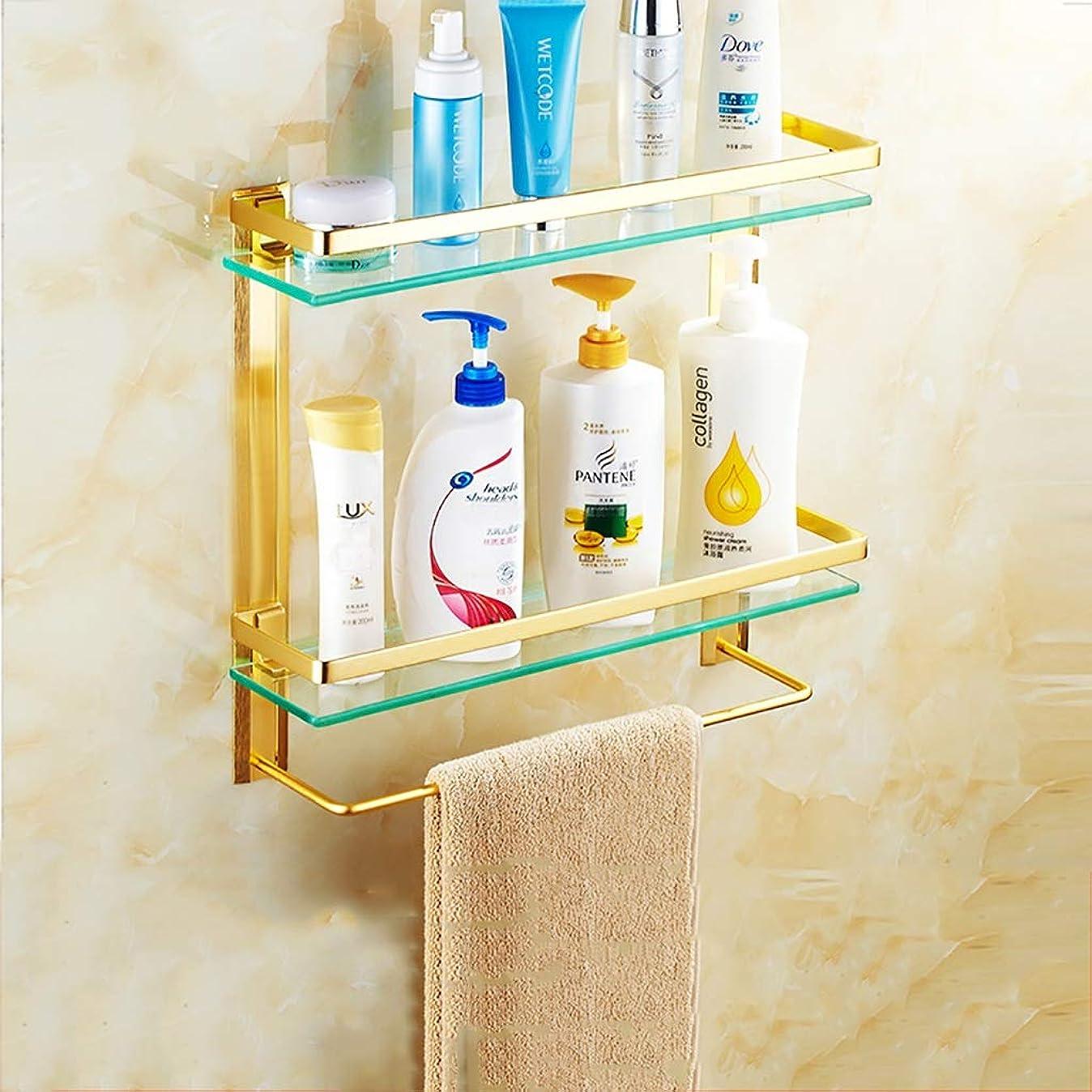 情熱的卒業囲むタオルラック浴室の棚ガラス棚壁タオルバー壁掛け2層と二重強化ガラス (Size : 40cm)