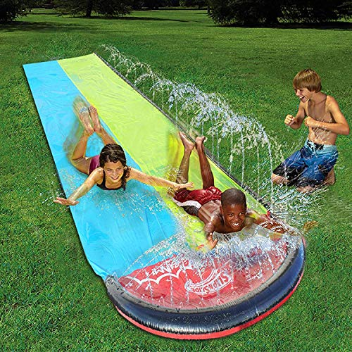 ZFCGEE Kids Adults Water Slip and Slide, Garden Backyard Giant Racing Lanes and Splash Pool, Outdoor Blow up Water Slides with Crash Pad Outdoor Party Water Toys (189inchx55inch, Blue&Yellow)
