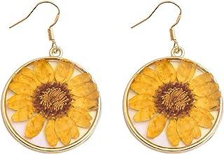 SEIRAA Pressed Flower Teardrop Earrings Natural Dried Flower Jewelry Hook Drop Dangle Earrings for Women