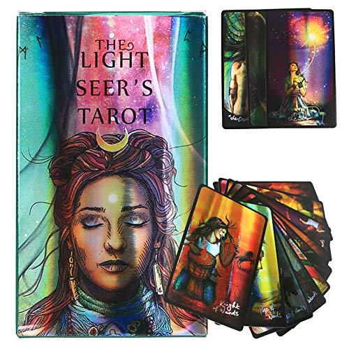 GUOHAPPY Light Seer's Tarot Cards 78 Pcs: Juego de Adivinación de Tablero Full English Borderless Edition, con Guía