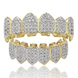Gioielli Moca Hip Hop Unisex placcato in oro 18 carati Ghiacciato CZ Diamante simulato Top Bottom Denti Grill Set per uomo Donna (gold)