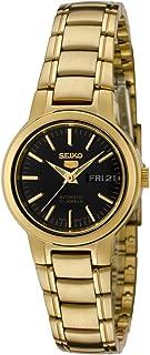 ساعة سيكو النسائية SYME48 Seiko 5 أوتوماتيك بمينا لون أسود ذهبي من الفولاذ المقاوم للصدأ