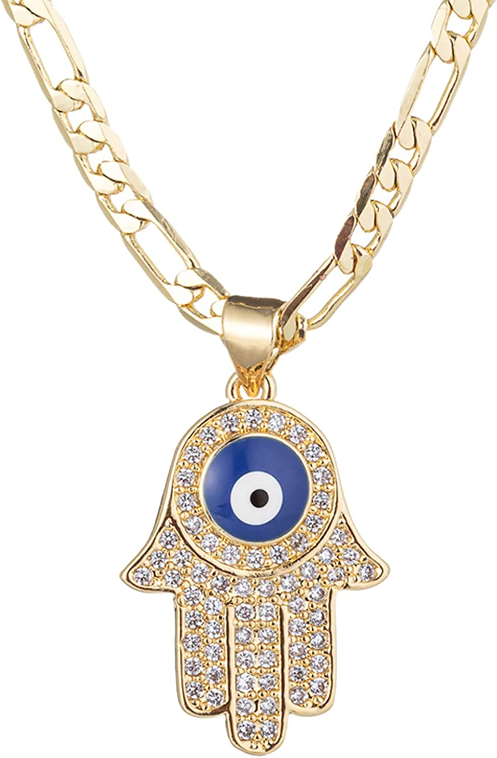 14K Gold Plated Evil Eye Hamsa Hand Necklace for Women Men | Gold Cubic Zirconia Inlay Evil Eye Pendant Necklace | 3mm Figaro Chain Necklace 18/22 inches