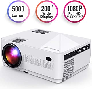 DBPOWER L21 LCD Video Projector, Upgraded 5000L 1080P 1920x1080 Supported Full HD Mini Movie Projector with HDMIx2/USB/SD/AV Ports, Compatible with Smartphone/VGA/TV/PS4/DVD Ideal for Home Theater
