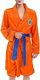 Bath Robe for Men Pajamas Nightwear Super Soft Dressing Gown Shawl Collar Sleepwear Orange